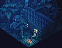 Cabin in the woods - Voxel Art Animation
