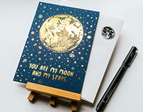 【You are my moon and my star】Foil Stamping Card