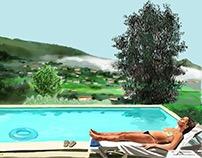 Kiki by the pool