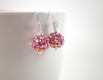 Earrings Red Sparkly Rhinestone Ball Drop
