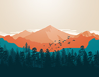 Mt. Clooney Creative Landscape Flat Design