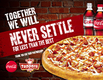 Toppers Pizza Powerpoint Template and Advertisement