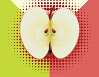 Two colored background with apple