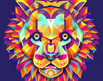 Colorful shaped lion