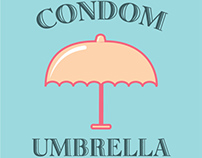 CONDOM UMBRELLA / Retro Style / World AIDS Day