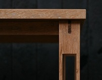 Crutch Legged Console Table in White Oak and Concrete