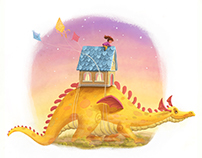 Girl Riding a Dragon with her Home