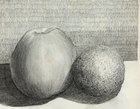 Pencil studies of fruit.