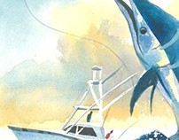 Marlin Fishing - Watercolor Sketch