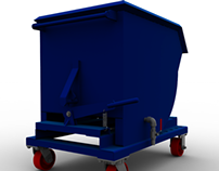 Carro contenedor volcable de rebaba metalica