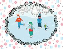 Holiday Card, Animals Skating