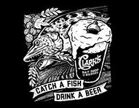 Clark's Bait Shop & Brewery Tee Design