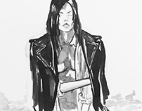 Black & white drawings.