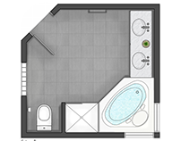 Floor plan render 2D - Bathroom