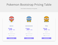 Pokemon Free Bootstrap Pricing Table