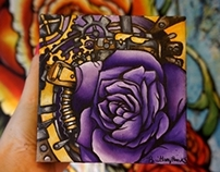 Rose and Cogs Steampunk Painting No.3
