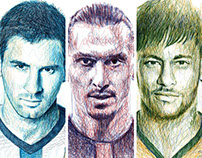 Scribble Portraits: Football Stars