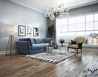 Warm Dark Scandinavian Living Room