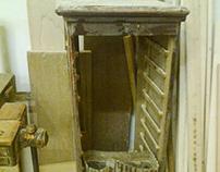 Antique roll folder cabinet restoration
