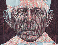 A series of ballpoint pen map drawings
