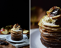 Ombre pancakes with roasted apples and cinnamon