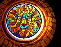 "stained-glass window ""lion"""