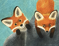 Fox, hedgehog and ladybird