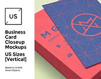 US Business Cards Mockup [close-up]