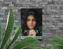 Glued Poster on Stone Wall Mockup Free