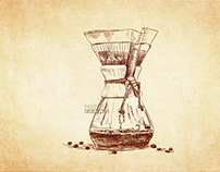 Vector Illustration - Coffee Project - Crosshatching