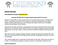 Press Release, Centurion K9, Golf Tourn. /Sponsorship