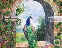 Peacock Arch - Watercolor on paper