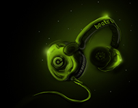 Green neon lighted Headset