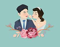Custom made vector couple portrait