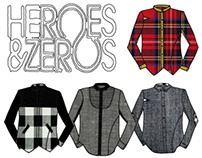 """Heroes and Zeros"" Menswear shirts"