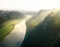 Fog over Germany (Saxon Switzerland National Park)