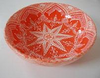 Orange Mandala Serving Bowl
