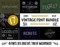 Vintage Font Bundle | 49 Fonts in 1