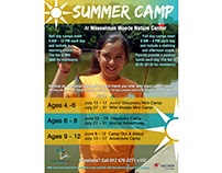 Summer Camp advertisement flyer for nature center