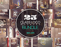 GLASS LOGO MOCKUPS BUNDLE X25​​​​​​​