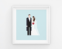 Custom Pixel Wedding Illustration
