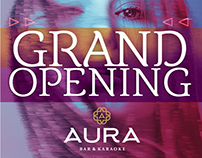 POSTER. AURA Bar Karaoke. Opening. Graphic design.