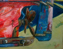 'fish boat' oil on canvas