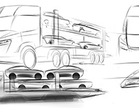 Car Trailer Sketch