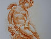 Burnt ochre drawing (chalk) coloured pencil