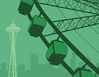Seattle Travel Poster & Postcard Set