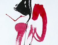 """A series of """"Handwriting""""(red) Paper, ink, size 420h600"""