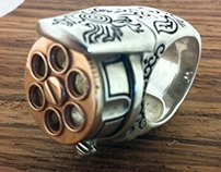 Revolver Gun Ring : Silver and Rose Gold