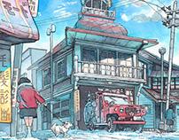 Illustration for album「名建築の空想イラスト図鑑」