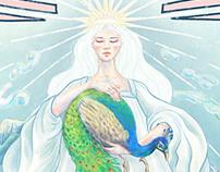 rainbow fairy with peacock and dragon